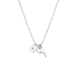 Zilveren Collier met Slot, Hart en Sleutel