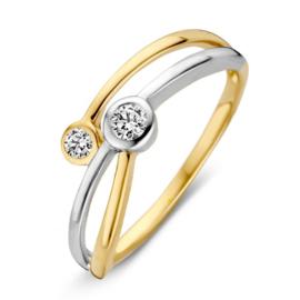 Excellent Jewelry Bicolor Ring met Twee Zirkonia's voor Dames