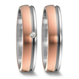Gepolijste Zilveren met Matte Roségouden Trouwringen Set met Diamant