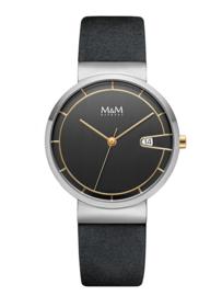 M&M Horloge met Zilverkleurige Coating en Goudkleurige Accenten
