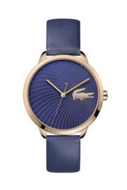 Lacoste Roségoudkleurig Lexi Dames Horloge met Blauw Lederen Horlogeband