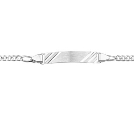 Zilveren Graveer Armband Figaro Plaat 5,0 mm / 18cm