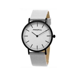 Prisma Zwart Unisex Horloge met Witte Band