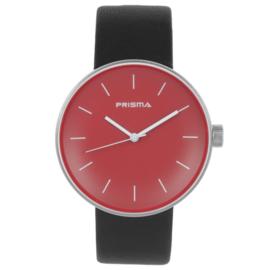 Prisma Basic Zilverkleurig Dames Horloge met Rode Wijzerplaat