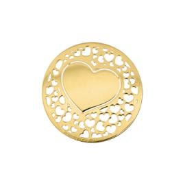 Romantische Goudkleurige Hart 24mm Munt van MY iMenso