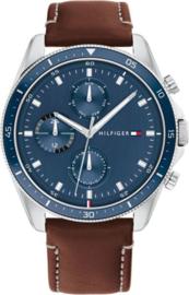 Tommy Hilfiger Zilverkleurig Heren Horloge met Blauwe Bezel