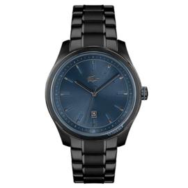 Lacoste Musketeer Zwart Heren Horloge met Blauwe Wijzerplaat