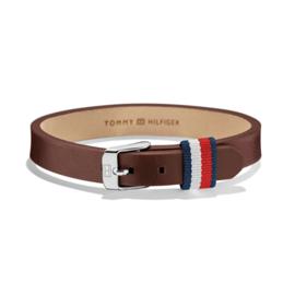 Tommy Hilfiger Bruin Lederen Armband met Gespsluiting TJ2700957