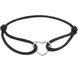 Armband Zwart Satijn met Zilveren Hartje