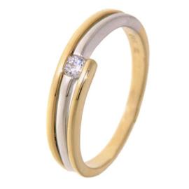 Excellent Jewelry Slanke Bicolor Zirkonia Ring met Losse Uiteinden