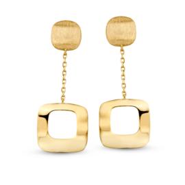 Excellent Jewelry Geelgouden Oorstekers met Opengewerkt Vierkantje
