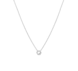 Witgouden Anker Collier met Zeshoekige Diamant Hanger