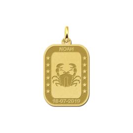 Rechthoekige Kreeft Sterrenbeeld Hanger van Goud