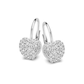 Excellent Jewelry Witgouden Oorhangers met Hartvormig Plaatje