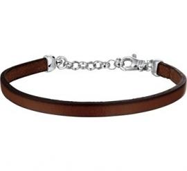 Bruin Lederen Armband met Zilveren Ketting