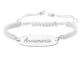 Witte Naamplaatje Armband > Names4ever