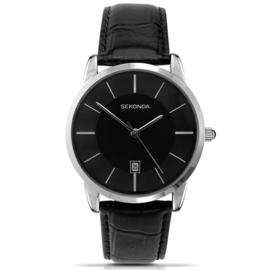 Elegant Sekonda Heren Horloge met Zwart Lederen Horlogeband