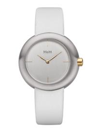 Dames Horloge met Wit Lederen Horlogeband van M&M