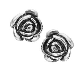 Roos Oorknoppen van Geoxideerd Zilver