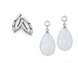 MY iMenso Zilveren Creoli Oorbellen + Witte Creoli Hangers