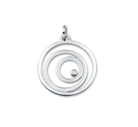 Gerhodineerd Zilveren Cirkels Hanger met Rhodium
