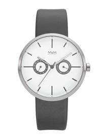Two Eye Unisex Horloge met Grijs Lederen Horlogeband van M&M