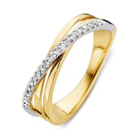 Excellent Jewelry Geelgouden Ring met Witgouden Diamant Strook