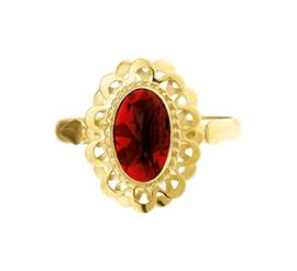 Vintage Gouden Ring met Granaat Steen