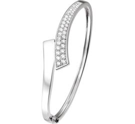 Vlakke Scharnier Bangle armband van Zilver met Zirkonia's