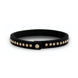 Tennis Solo Zwarte Armband met Bronskleurige Swarovski Kristallen
