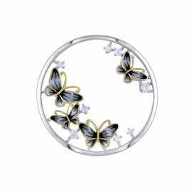 Zilverkleurige 33mm Insignia met Goudkleurige Vlinder van MY iMenso