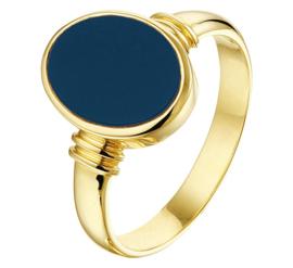 Ovale Blauwe Lagensteen Dames Zegelring van Geelgoud