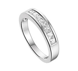 Slanke Vlakke Zilveren Ring met Zirkonia Rij