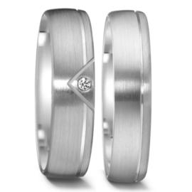 Elegante Matte Zilveren Trouwringen Set met Gepolijste Lijn en Diamant