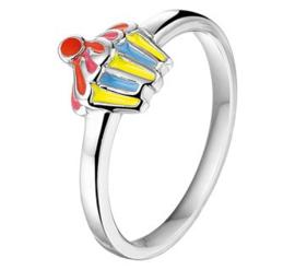 Zilveren Ring voor Kinderen met Regenboog Cupcake