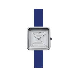 M&M Horloge met Vierkante Kast en Blauw Lederen Horlogeband