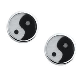 Yin Yang Oorknoppen van Gepolijst Zilver met Zwarte Emaille