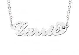 Names4ever Carrie Stijl Zilveren Naamketting + Zirkonia