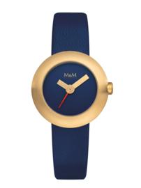 Goudkleurige M&M Dames Horloge met Blauw Lederen Horlogeband