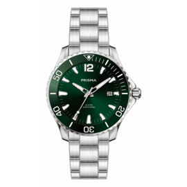 Prisma Zilverkleurig Diver Luminous Heren Horloge met Groene Wijzerplaat