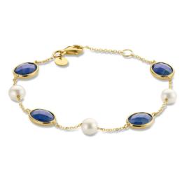 Excellent Jewelry Geelgouden Armband met Facetgeslepen Edelstenen
