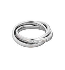 Speelse Zilverkleurige Ring met Kleurloze Zirkonia's van M&M