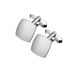 Vierkante Matte Zilveren Manchetknopen met Rhodium