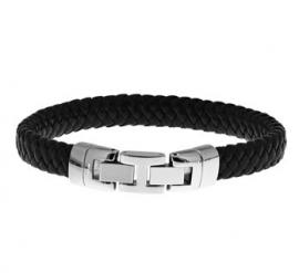 Elegante Zwart Lederen Gevlochten Armband voor Heren