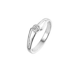 Zilveren Ring met Opengewerkte Uiteinden en Zirkonia