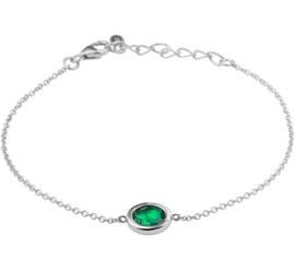 Zilveren Schakelarmband met Synthetische Smaragd