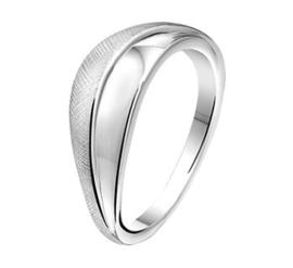 Gepolijste met Gescratchte Ring van Gerhodineerd Zilver