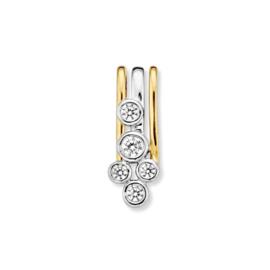 Excellent Jewelry Bicolor Hanger met Vijf Zirkonia's