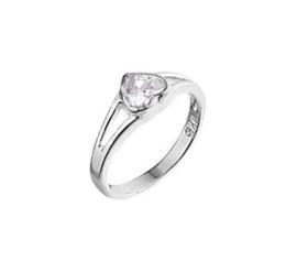 Zilveren Ring voor Kinderen met Kleurloos Zirkonia Hart