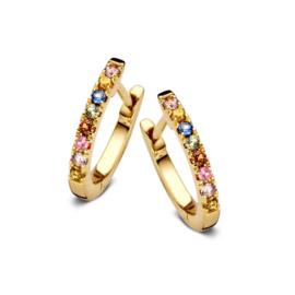 Excellent Jewelry Gouden Oorringen met Regenboog Saffier Edelstenen